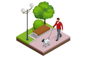 Isometric man is on a walk with a robot dog.