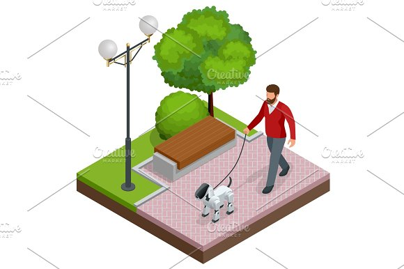 Isometric Man Is On A Walk With A Robot Dog
