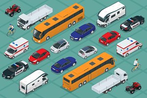 Flat isometric high quality city transport car icon set. Urban public and freight transport. For infographics, design and game