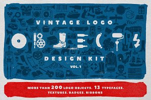 Objects + Fonts • Vintage Logo Kit