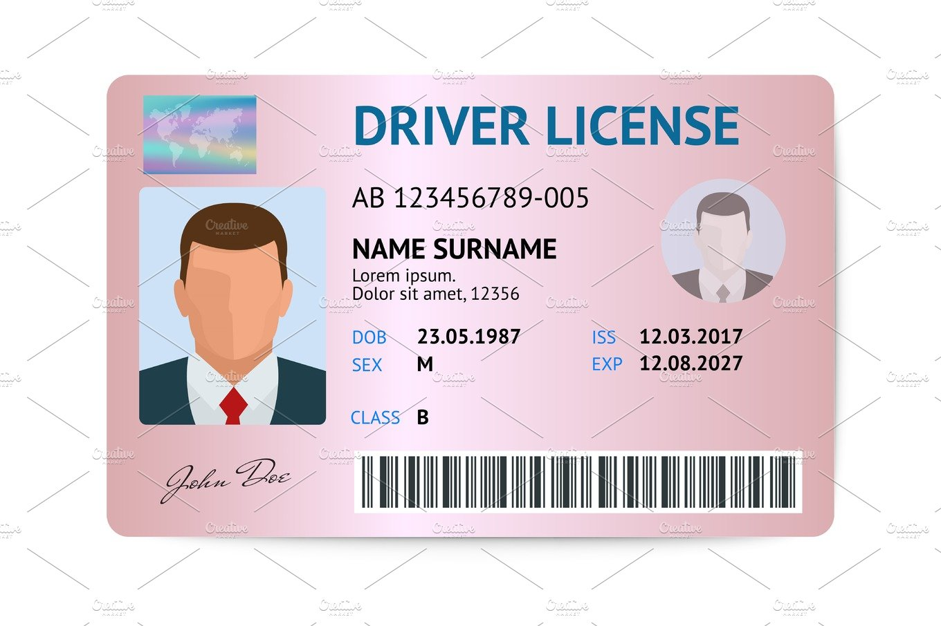Driver License Usa Template Graphic Objects Creative Market