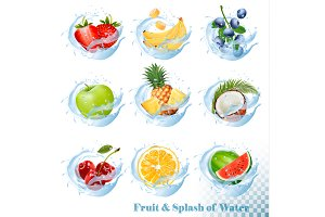 Fruit in a water splash icons