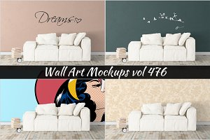 Wall Mockup - Sticker Mockup Vol 476