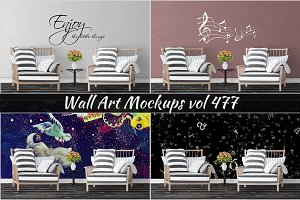 Wall Mockup - Sticker Mockup Vol 477