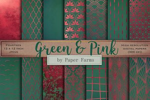 Green and pink digital paper