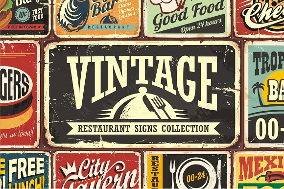 vintage restaurant signs collection illustrations creative market