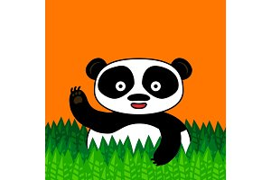 Happy panda smiling and waving