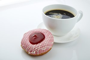 fresh donut with coffee