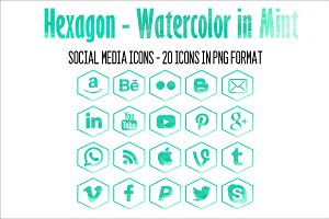 Social Media Icons - Mint Watercolor