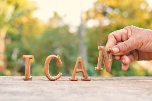 "wood ""I can"" word"