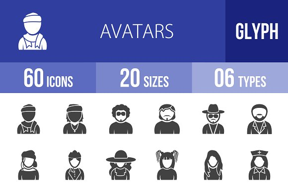 60 Avatars Glyph Icons