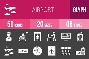 50 Airport Glyph Inverted Icons