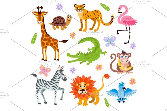Cute Jungle And Safari Animals Vector Set For Kids Book