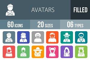 60 Avatars Flat Round Corner Icons