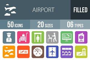 50 Airport Flat Round Corner Icons