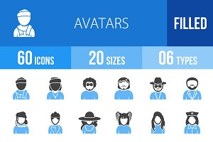 60 Avatars Blue & Black Icons