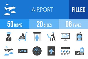 50 Airport Blue & Black Icons