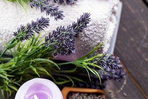 Lavender spa setting on dark