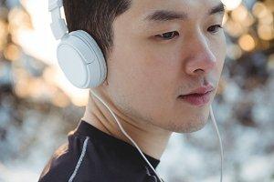 Man listening to music in headphones
