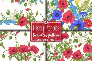 4 Happy Poppies Seamless Patterns