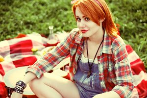 Young redhead hipster woman