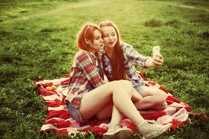 Two young hipster girls