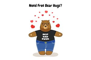 Cute Father's Day card with Dad Bear free hugs