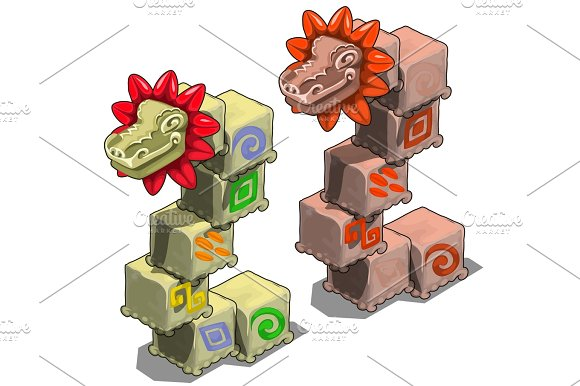 Stone Cubes With Heads Of Dragons