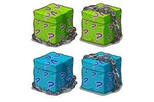 Box with surprise wrapped in chain. Vector