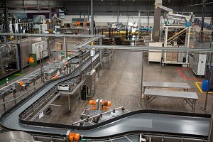 Production lines and machinery in juice factory