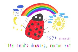 The child's drawing, vector set