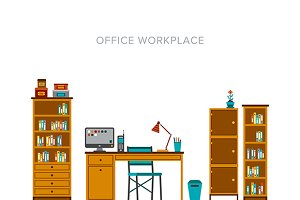 Office workplace scene flat style