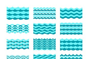 Blue water wave tiles set