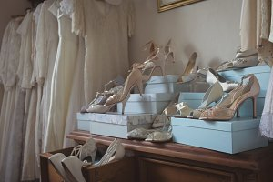 Wedding dresses and footwears in boutique