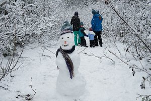Snowman with family in background