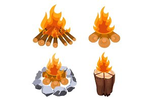 Camping bonfire from tree trunks vector illustration isolated on white