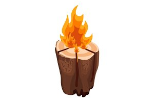 Camping bonfire from tree trunk vector illustration isolated on white