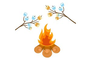 Marshmallow on tree branches cooked on bonfire vector illustration