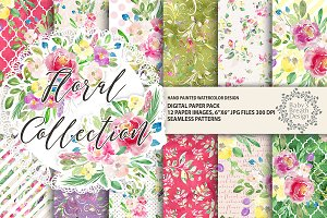 Floral collection digital paper pack