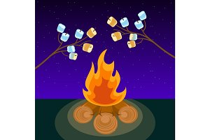 Marshmallow on skewers cooked on bonfire at night vector illustration