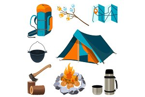 Set of camping elements isolated on white. Vector illustration
