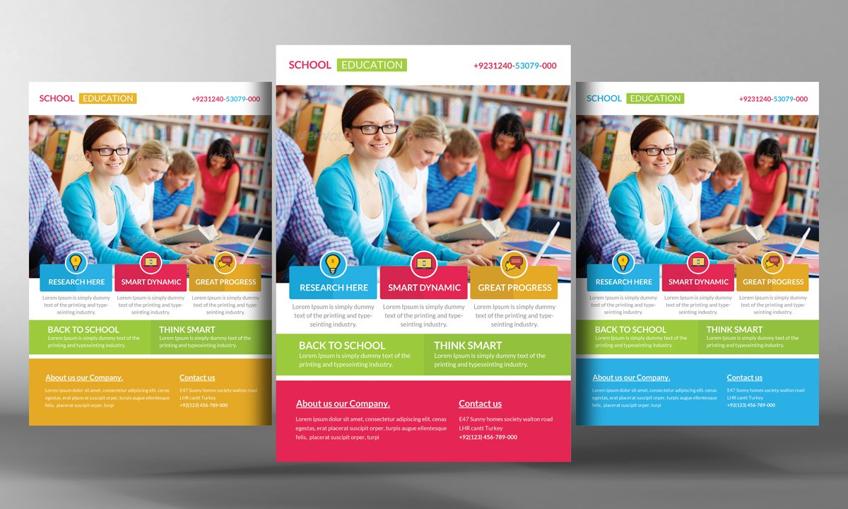 Education flyer template flyer templates creative market for Free education brochure templates