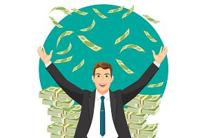 Man in expensive suit gets bonus money vector illustration