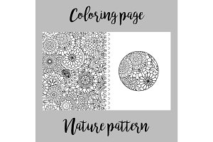Coloring page with nature pattern