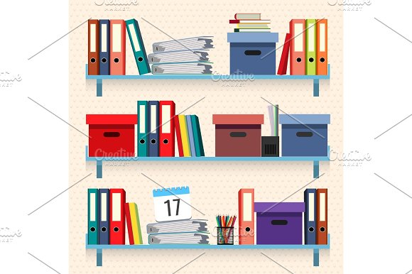Documents And Folders On Shelves Set Vector Illustration Isolated