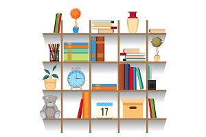 Set of office accessories on shelf vector illustration. Stacked book