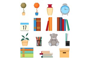 Set of office accessories vector illustration. Stacked books, folders