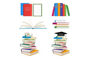 Set of book stacked with glasses or mortar board hat