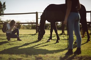 Woman clicking picture of horse in farmland