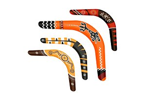 Set of painted traditional australian boomerang tools vector illustration
